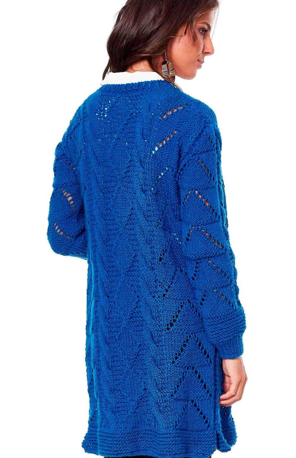 Free Knitting Patterns - Long Cardigan in Fancy Pattern