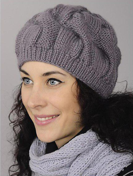 Free Knitting Patterns - Hat with Wide Cables