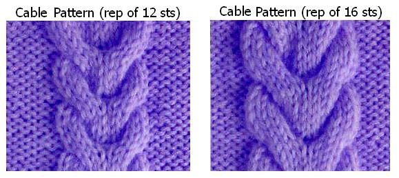 Cable Knit Pattern rep of 12-16 sts