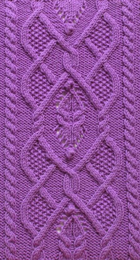 Free Knitting Patterns - Dimond Cable Knit Stitch Pattern