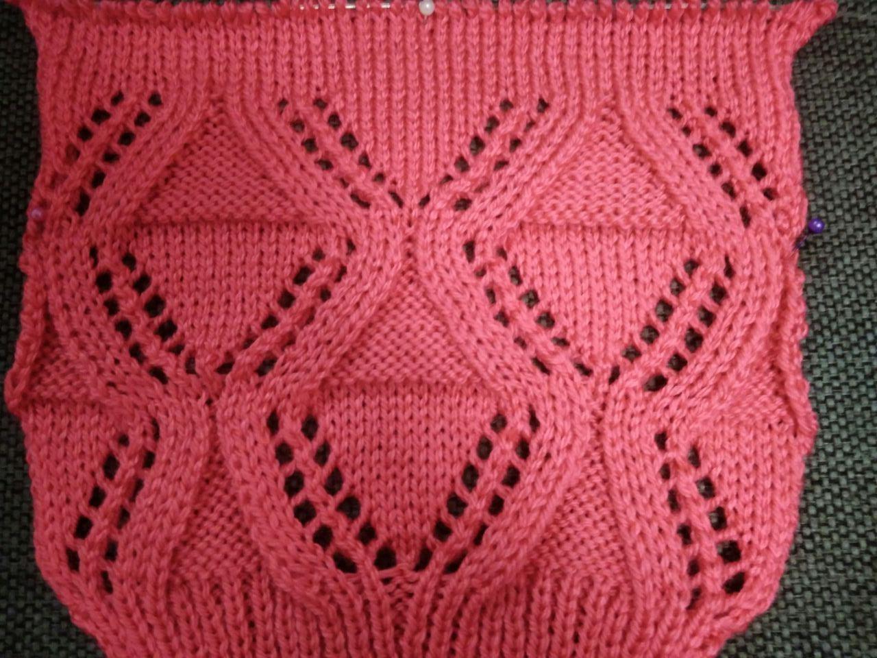 Free Knitting Patterns - Diamond Lace Knitt Pattern