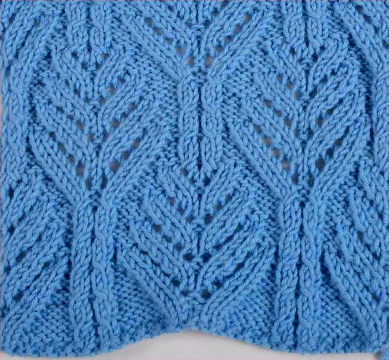 Free Knitting Patterns - Fancy Leaf Knit Stitch Pattern