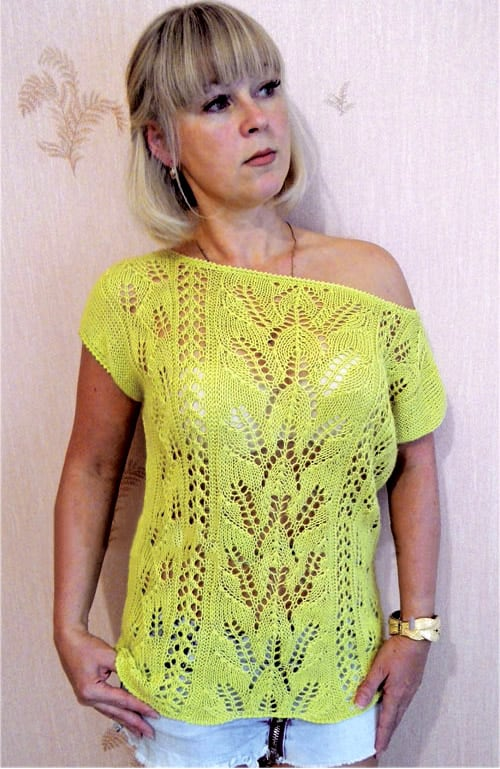 Free Knitting Patterns - Top in Lace Pattern