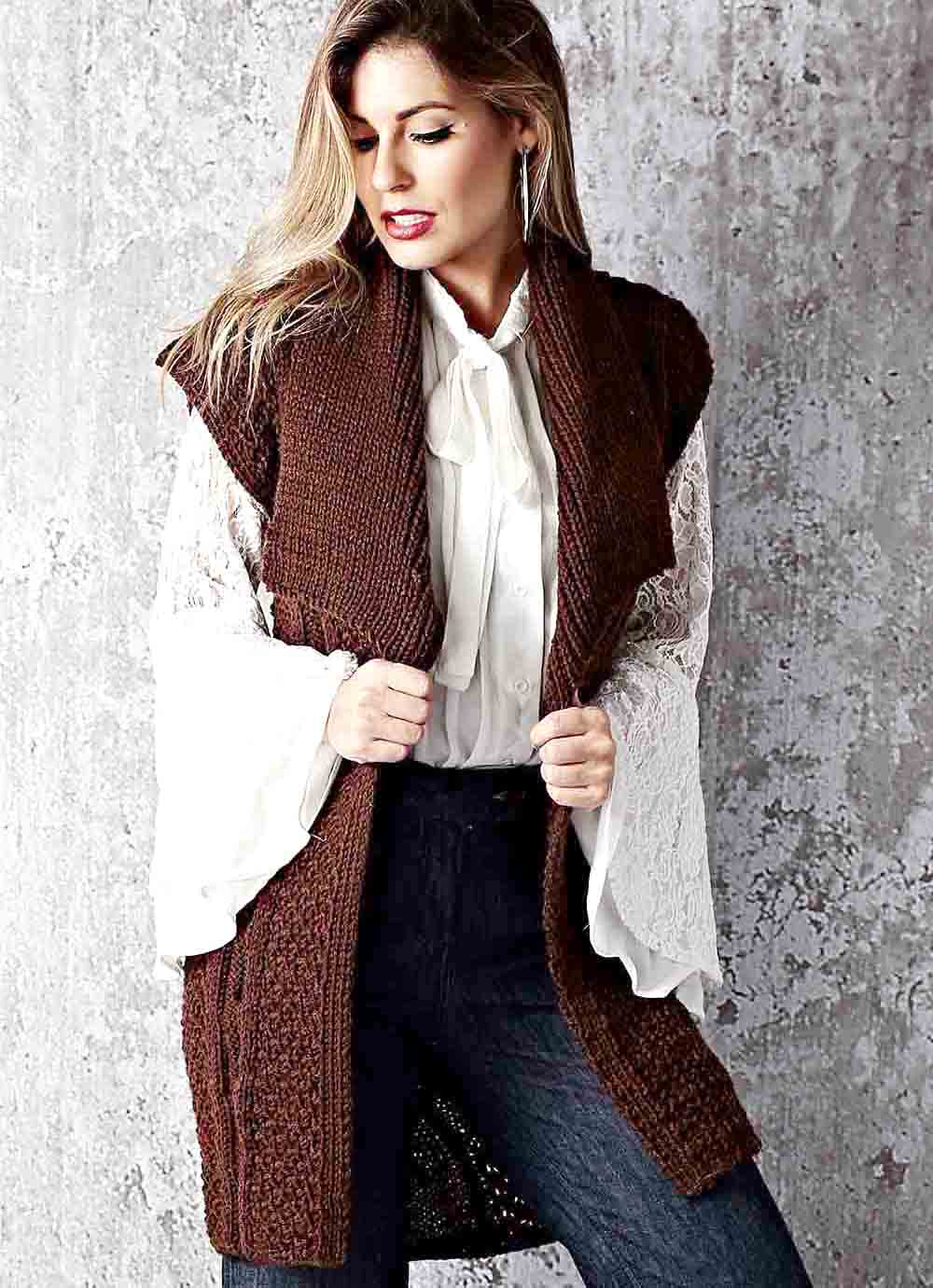 Free Knitting Patterns Long Vest In Fancy Pattern