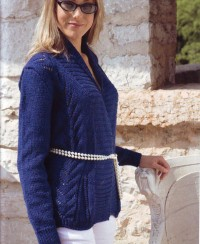Cardigan with Lace Panels
