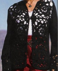 Black cardigan with crochet motifs