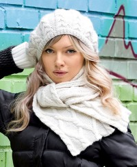 Beret and Scarf with Cables
