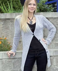 Cardigan in Rib Pattern with Stockinette Stitch