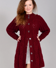 Coat in Fancy Pattern and Eyelet Stripes