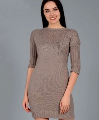 Short Dress with Diagonal Lace Pattern