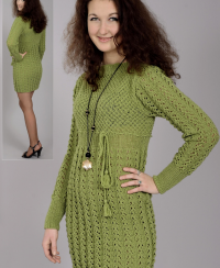 Dress with Lace Panels and Star Pattern