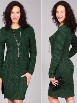 Dark Green Dress with Cables