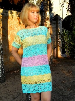 Striped Dress in Lace Pattern