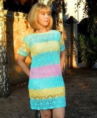 Striped Dress in Lace Pattern