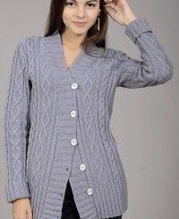 Jacket with Cable Diamond Pattern