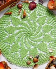 Delicate Green Knitted Napkin