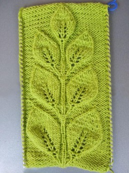 Knitting Pattern Branch with Leaves: