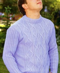 Men's Pullover in Textured Pattern with Cables