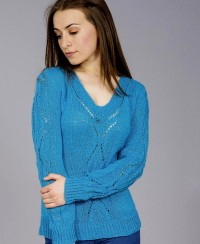 V-Neck Pullover with Lace Pattern
