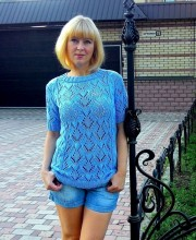 Short Sleeve Pullover in Lace Patterns with Cables