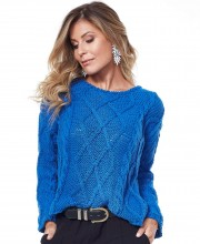 Pullover with Diamond Cable Pattern