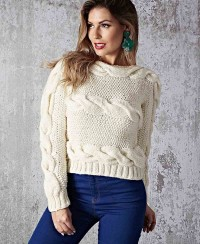 Sideways Pullover with Cables