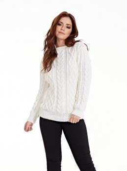 Pullover with Diamonds and Cables