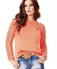 Pullover with Lace Sleeves