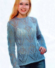 Pullover with Flower Pattern