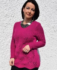 Pullover with Lace Leaves Pattern