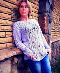 Long Pullover with Lace Pattern