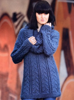 Long Pullover with Textured Pattern