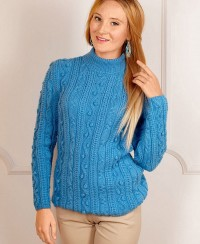 Pullover with Cables and Bobbles