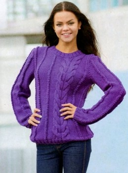Pullover with Wide Cable