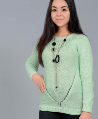 Raglan Pullover with Lace Neck