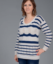 Striped Pullover with Wavy Pattern