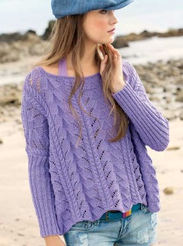 Lace and Cable Mix Pattern Pullover