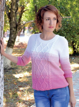Pullover with 3/4 Sleeve in Textured Pattern