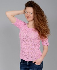 Short Sleeve Pullover in Lace Pattern