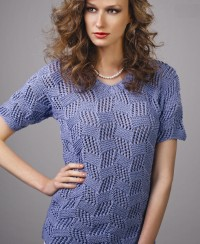 V-Neck Pullover in Checkered Pattern