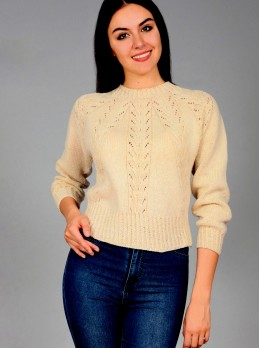Integrally-knitted Pullover with Lace Pattern and Cables