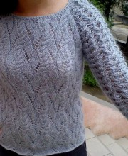 Mohair Pullover with Lace Sleeves