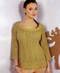 Pullover with Lace Panels