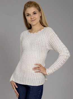 White Pullover with Eyelet Pattern