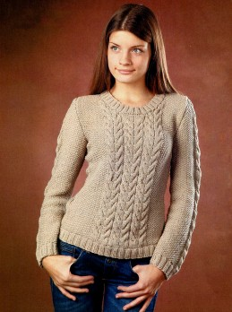 Beige Pullover with Cables