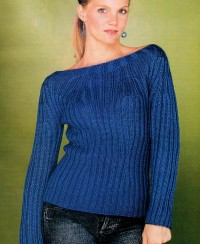 Boat Neck Pullover in Rib Pattern