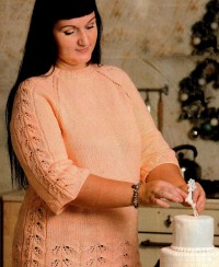 Raglan Pullover with Leaf Pattern