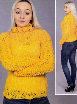Yellow Pullover in Fancy Pattern