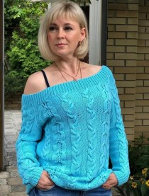 Turquoise Pullover with Cables