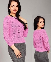 Pullover with Eyelet Pattern